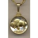 "Buffalo Nickel (1913 - 1938) Two Tone Plain Edge U.S. Coin with 18"" Chain"