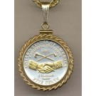 """Jefferson Nickel Peace Medal (2004) Two Tone Rope Bezel U.S. Coin Pendant with 18"""" Chain"""
