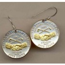 """New Jefferson Nickel """"Peace Medal"""" Two Tone Coin Earrings"""