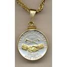 "Jefferson Peace Medal (2004) Two Tone Plain Edge U.S. Coin Pendant with 18"" Chain"