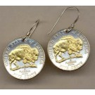 """New Jefferson Nickel """"Bison"""" Two Tone Coin Earrings"""