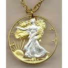 "U.S. Walking Liberty Half Dollar Two Tone Coin Cut Out with 24"" Chain"