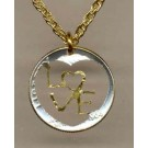 "U.S. Dime Two Tone Coin ""Heart with Love"" Cut Out with 18"" Chain"