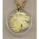 "Ethiopia 25 Cent Two Tone Coin Cut Out with 18"" Chain"
