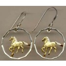 "Uruguay 10 Centesimal ""Horse"" Two Toned Coin Cut Out Earrings"