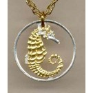 "Singapore 10 Cent Two Tone Coin Cut Out with 18"" Chain"