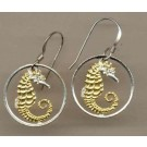 "Singapore 10 Cent ""Sea Horse"" Two Toned Coin Cut Out Earrings"