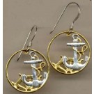 "Spanish 50 Centimes ""Anchor & Ships Wheel"" Two Toned Coin Cut Out Earrings"