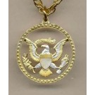 "Kennedy Half Dollar ""Eagle & Stars"" Two Tone Coin Cut Out with 24"" Chain"