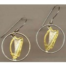 "Irish Penny ""Harp"" Two Toned Coin Cut Out Earrings"