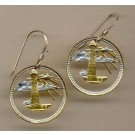 "Barbados 5 Cent ""Lighthouse"" Two Toned Coin Cut Out Earrings"
