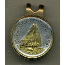 "Bahamas 25 Cent ""Sail Boat"" Two Tone Coin Golf Ball Marker"