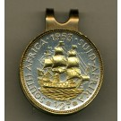 """South African 1/2 Penny """"Sailing Ship"""" Two Tone Coin Golf Ball Marker"""