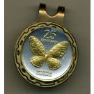 "Philippines 25 Sentimos ""Butterfly"" Two Tone Coin Golf Ball Marker"