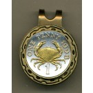 """Guernsey Penny """"Crab"""" Two Tone Coin Golf Ball Marker"""