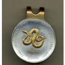 """Somalia 10 Shillings """"Year of the Snake"""" Two Tone Coin Golf Ball Marker"""