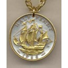 """British Penny """"Sailing Ship"""" Two Tone Coin with 18"""" Necklace"""