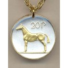 "Irish 20 Pence ""Horse"" Two Tone Coin with 24"" Necklace"