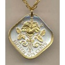 """Bahamas 15 Cent """"Hibiscus"""" Two Tone Coin with 18"""" Necklace"""