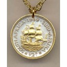 "South African Penny ""Sailing ship"" Two Tone Coin with 18"" Necklace"