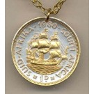 """South African Penny """"Sailing ship"""" Two Tone Coin with 24"""" Necklace"""