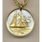 """Cayman Islands 25 Cent  """"Sail Boat"""" Two Tone Coin with 18"""" Necklace"""