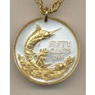 """Bahamas 50 Cent  """"Blue Marlin"""" Two Tone Coin with 24"""" Necklace"""