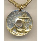 "Spanish 50 Centimes ""Anchor and Ships Wheel"" Two Tone Coin with 18"" Necklace"