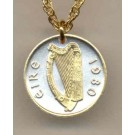 "Irish Penny ""Harp"" Two Tone Coin Pendant with 18"" Chain"