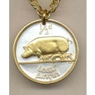 "Irish Penny ""Pig and Piglets"" Two Tone Coin Pendant with 18"" Chain"