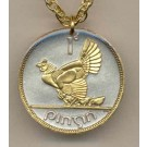 """Irish Penny """"Chicken with Chicks"""" Two Tone Coin Pendant with 24"""" Chain"""