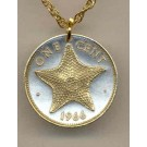 """Bahamas 1 Cent """"Star Fish"""" Two Tone Coin Pendant with 18"""" Chain"""