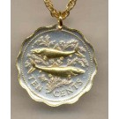 """Bahamas 10 Cent """"Bone Fish"""" Two Tone Coin Pendant with 18"""" Chain"""