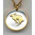 """Canadian Centennial 5 Cent """"Rabbit"""" Two Toned Coin Pendant and 18"""" Chain"""