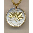 """Canadian Penny """"Maple Leaf"""" Two Tone Coin Pendant with 18"""" Chain"""