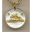 "Canadian Nickel ""Beaver"" Two Tone Coin Pendant with 18"" Chain"