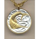 """Singapore 20 Cent """"Sword Fish"""" Two Tone Coin Pendant with 18"""" Chain"""