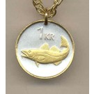 """Iceland 1 Krona """"Cod Fish"""" Two Tone Coin Pendant with 18"""" Chain"""