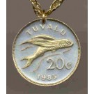 """Tuvalu 20 Cent """"Flying Fish"""" Coin Pendant with 24"""" Chain"""