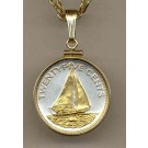 """Bahamas 25 Cent """"Sail Boat"""" Two Tone Gold Filled Bezel Coin with 18"""" Necklace"""