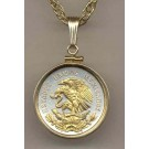 """Mexican 10 Centavo """"Eagle"""" Two Tone Gold Filled Bezel Coin with 18"""" Necklace"""