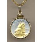 """Canadian 10 Cent """"Bluenose Sail Boat"""" Two Tone Gold Filled Bezel Coin with 18"""" Necklace"""