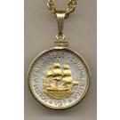 """South African Penny """"Sailing Ship"""" Two Tone Gold Filled Bezel Coin with 18"""" Necklace"""