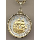 """South African Penny """"Sailing Ship"""" Two Tone Gold Filled Bezel Coin with 24"""" Necklace"""
