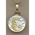 "Singapore 10 Cent ""Sea Horse"" Two Tone Gold Filled Bezel Coin with 18"" Necklace"