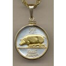 "Irish Penny ""Pig and Piglets"" Two Tone Gold Filled Bezel Coin with 18"" Necklace"