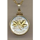 "Canadian Penny ""Maple Leaf"" Two Tone Gold Filled Bezel Coin with 18"" Necklace"