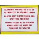 "12"" x 18"" Climbing Equipment Sign"