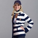 Syracuse Orange (Orangemen) Women's Full Zip Rugby Hoodie (Navy / White)