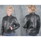 Ladies Black Vented Side Lace Motorcycle Jacket
